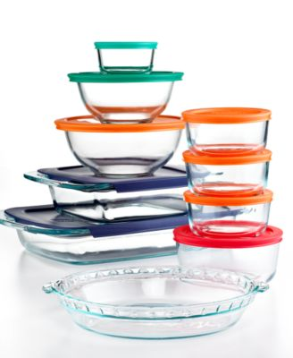 Pyrex Food Storage Containers, 19 Piece Bake and Store Set with Colored Lids