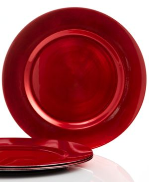 Charter Club Dinnerware, Set of 4 Red Chargers Plates