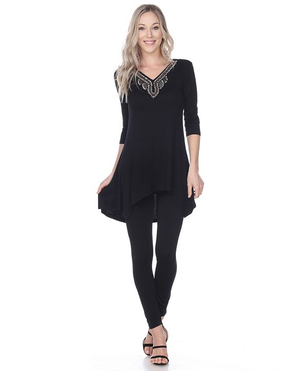White Mark Women's Tonya Embellished Tunic top