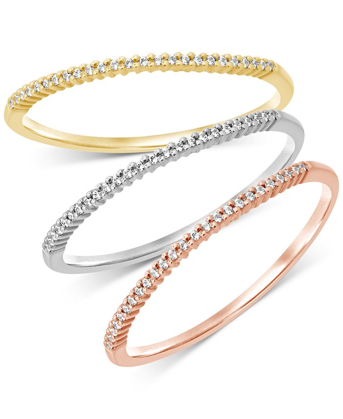 Macy's - 3-Pc. Set Diamond Tricolor Bands (1/6 ct. t.w.) in 14k Gold, White Gold & Rose Gold
