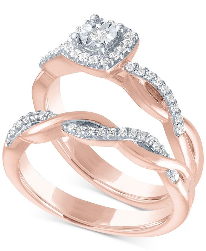 Promised Love - Diamond Bridal Set (1/4 ct. t.w.) in 14k Rose Gold Over Sterling Silver