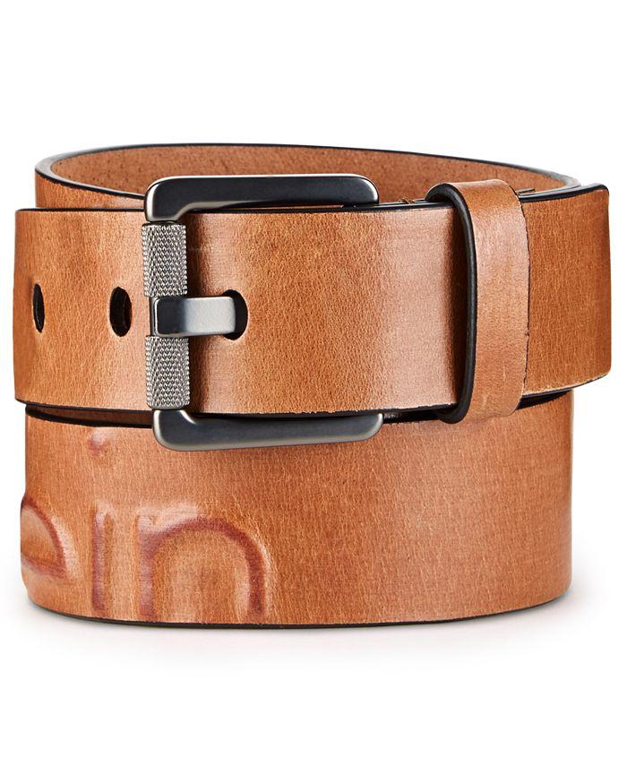 Calvin Klein - Men's Debossed Leather Belt