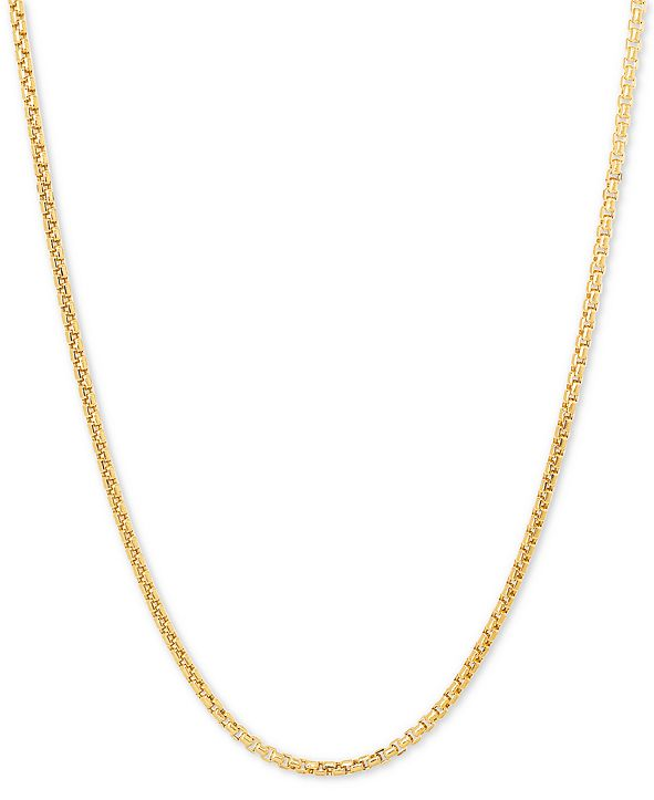 "Italian Gold Rounded Box 22"" Chain Necklace in 14k Gold"