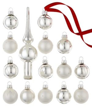 Kurt Adler Christmas Ornaments, Set of 15 Mini Ornaments with Silver Tree Topper