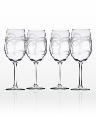 Palm Tree Double Old Fashioned 14Oz - Set Of 4 Glasses