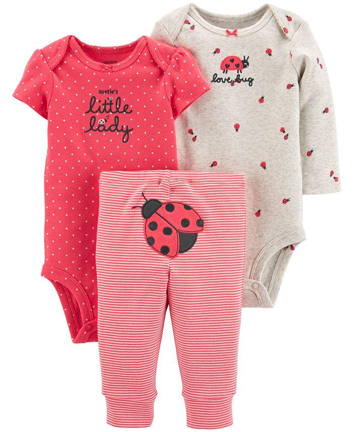 Carter's - Baby Girls 3-Pc. Cotton Bodysuits & Pants Set