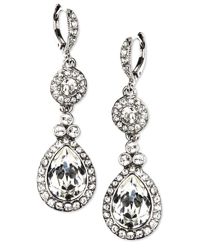 Givenchy - Earrings, Silver-Tone Swarovski Element Double Drop Earrings