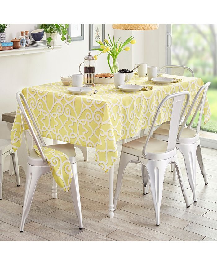 "Elrene - Chase Geometric Stain Resistant Indoor Outdoor 52""X70"" Tablecloth"