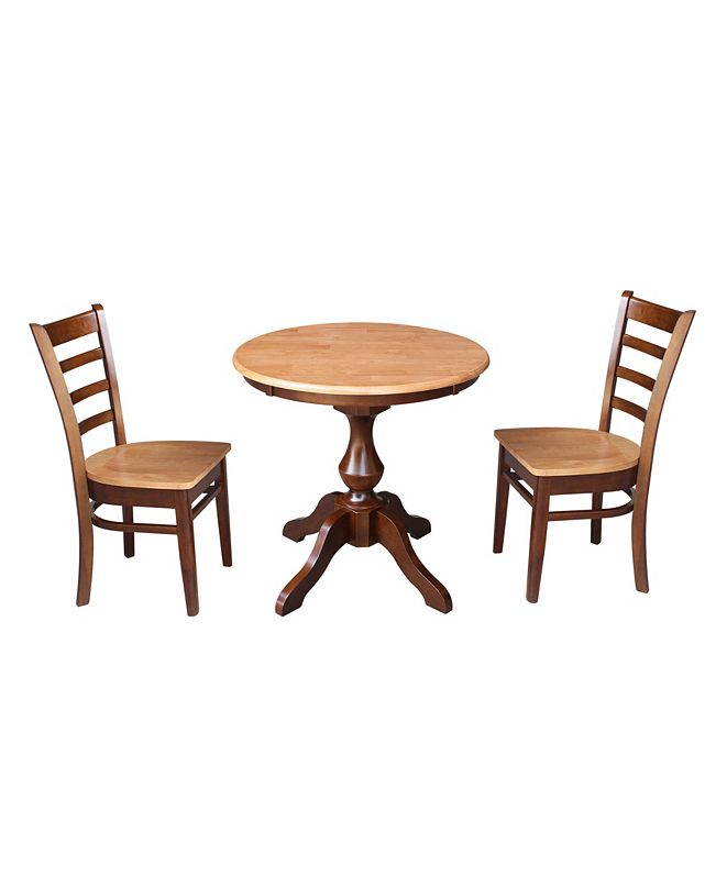 """International Concepts 30"""" Round Top Pedestal Table- With 2 Chairs"""