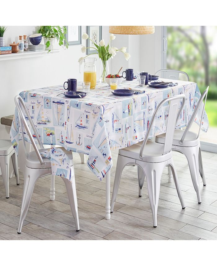 """Elrene - Sail Away Stain Resistant Indoor Outdoor 60""""X120"""" Tablecloth"""