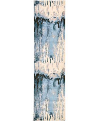 "Newwolf New3 Light Blue 2' 7"" x 10' Runner Area Rug"