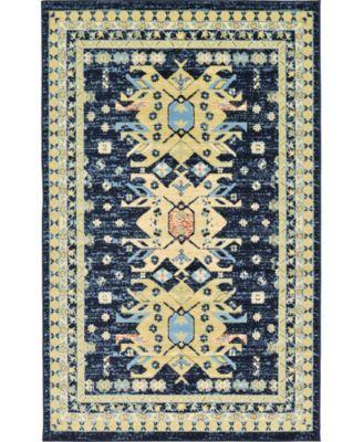 Charvi Chr1 Navy Blue 5' x 8' Area Rug