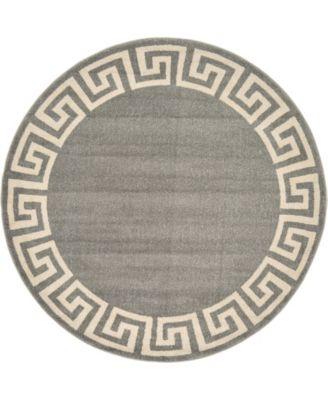 Anzu Anz2 Gray 6' x 6' Round Area Rug
