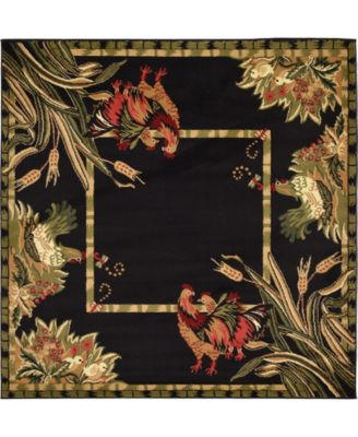 Roost Roo1 Black 6' x 6' Square Area Rug