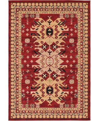 Charvi Chr1 Red 6' x 9' Area Rug