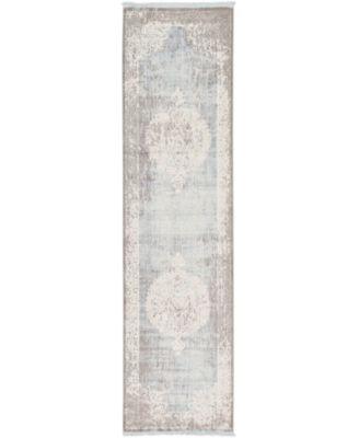 "Norston Nor4 Light Blue 2' 7"" x 10' Runner Area Rug"
