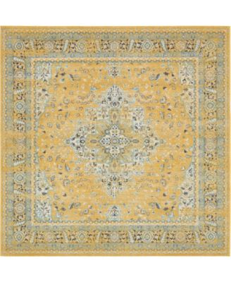"Wisdom Wis7 Yellow 8' 4"" x 8' 4"" Square Area Rug"