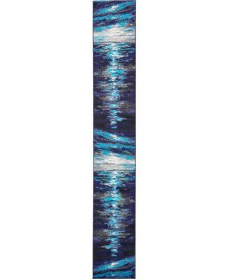 Politan Pol1 Navy Blue 2' x 13' Runner Area Rug