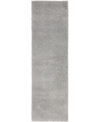 """Salon Solid Shag Sss1 Light Gray 2' x 6' 7"""" Runner Area Rug"""