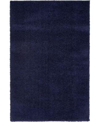 Salon Solid Shag Sss1 Midnight Blue 4' x 6' Area Rug