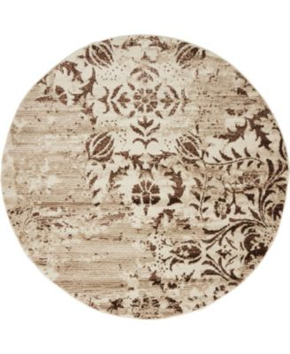 Marshall Mar3 Chocolate Brown 5' x 5' Round Area Rug
