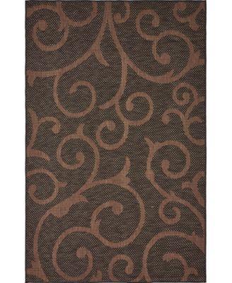 Pashio Pas7 Chocolate Brown 5' x 8' Area Rug