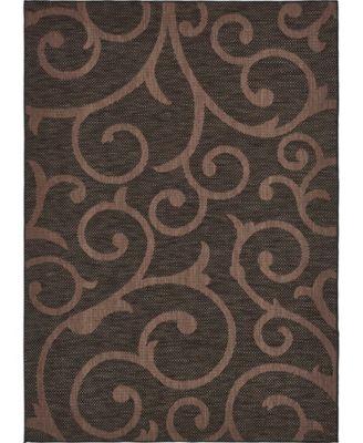 Pashio Pas7 Chocolate Brown 7' x 10' Area Rug