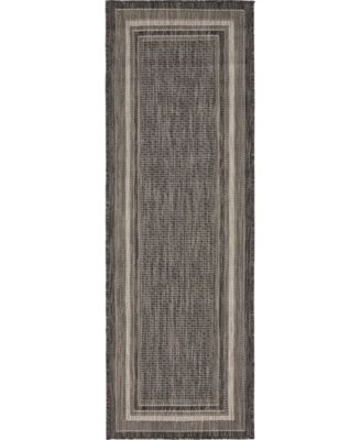 Pashio Pas5 Black 2' x 6' Runner Area Rug