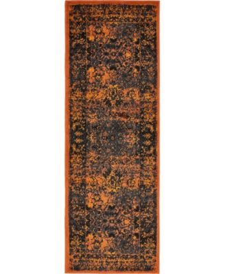 Linport Lin1 Terracotta/Black 2' x 6' Runner Area Rug