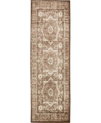 "Linport Lin7 Chocolate Brown 3' x 9' 10"" Runner Area Rug"
