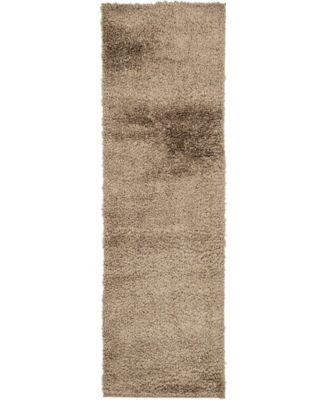 "Salon Solid Shag Sss1 Brown 2' x 6' 7"" Runner Area Rug"
