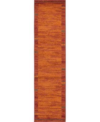 "Jasia Jas11 Terracotta 2' 6"" x 10' Runner Area Rug"