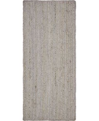 "Braided Jute B Bjb5 Gray 2' 6"" x 6' Runner Area Rug"