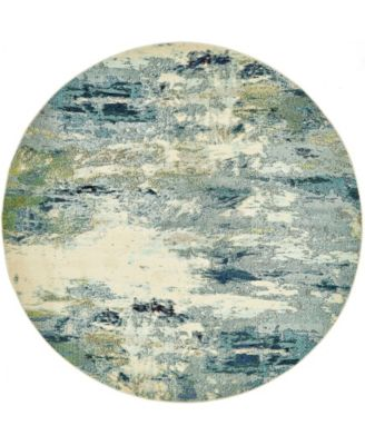Crisanta Crs7 Light Blue 8' x 8' Round Area Rug