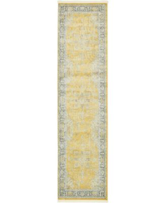 "Kenna Ken1 Yellow 2' 7"" x 10' Runner Area Rug"