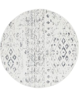 Nira Nir2 Ivory/Gray 5' x 5' Round Area Rug