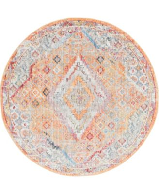 Zilla Zil1 Orange 6' x 6' Round Area Rug