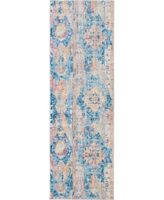 "Nira Nir1 Blue 2' 7"" x 8' 2"" Runner Area Rug"