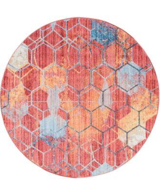 Prizem Shag Prz1 Red 6' x 6' Round Area Rug