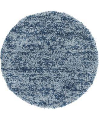"""Lochcort Shag Loc3 Blue 3' 3"""" x 3' 3"""" Round Area Rug"""