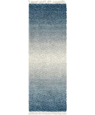 "Lochcort Shag Loc5 Blue 2' 2"" x 6' Runner Area Rug"