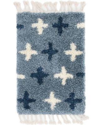 """Lochcort Shag Loc7 Blue 2' 2"""" x 3' Area Rug"""