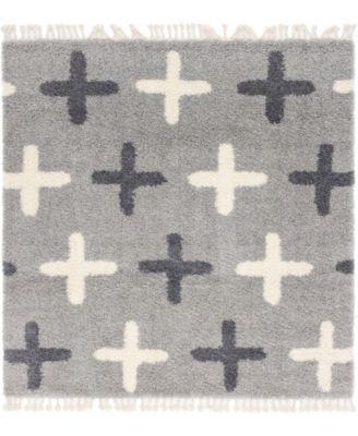 Lochcort Shag Loc7 Light Gray 8' x 8' Square Area Rug