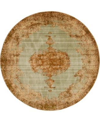 Thule Thu2 Light Green 8' x 8' Round Area Rug
