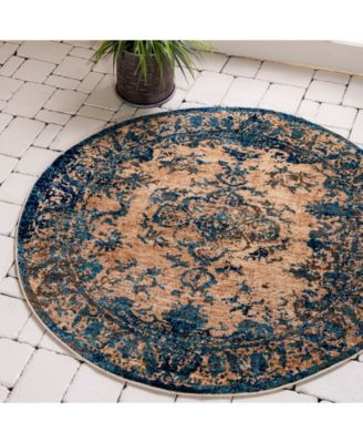 Thule Thu3 Blue 8' x 8' Round Area Rug