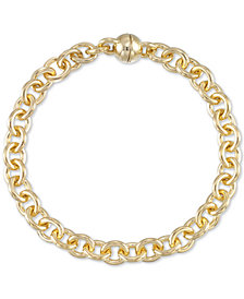 Signature Gold Diamond Accent Rolo Link Bracelet in 14k Gold Over Resin, Created for Macy's