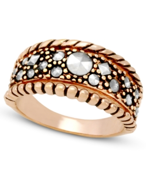Genevieve & Grace 18k Rose Gold over Sterling Silver Ring, Marcasite Ring