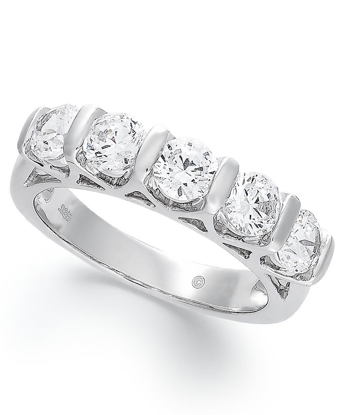 Macy's - Certified Five-Stone Diamond Band Ring in 14k White Gold (1-1/2 ct. t.w.)
