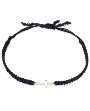 Macy's - 10k Gold Bracelet, Black Rope Sideways Cross Bracelet