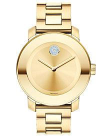 Movado Women's Swiss Bold Medium Gold Ion-Plated Stainless Steel Bracelet Watch 36mm 3600104